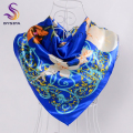 BYSIFA Spring Autumn Dark Blue Satin Ladies Scarves 90*90cm Women All Match Flowers Silk Scarf Shawl Hot Sale Muslim Headscarves