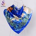 BYSIFA Spring Autumn Dark Blue Satin Ladies Scarves 90*90cm Women All Match Flowers Silk Scarf Shawl Hot Sale Muslim Headscarves