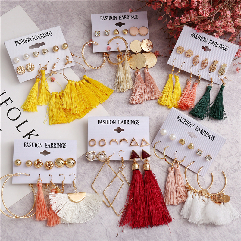 17KM-6-Bohemian-Earring-Long-Tassel-Drop-Earrings-Set-For-Women-Girl-2019-Fashion-Geometric-Earring (1)