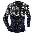 Свитер моды человек зима теплая толстая олень и снежинка pattern пуловер V-образным Вырезом с длинным рукавом свитера рождество для мужчин M-2XL