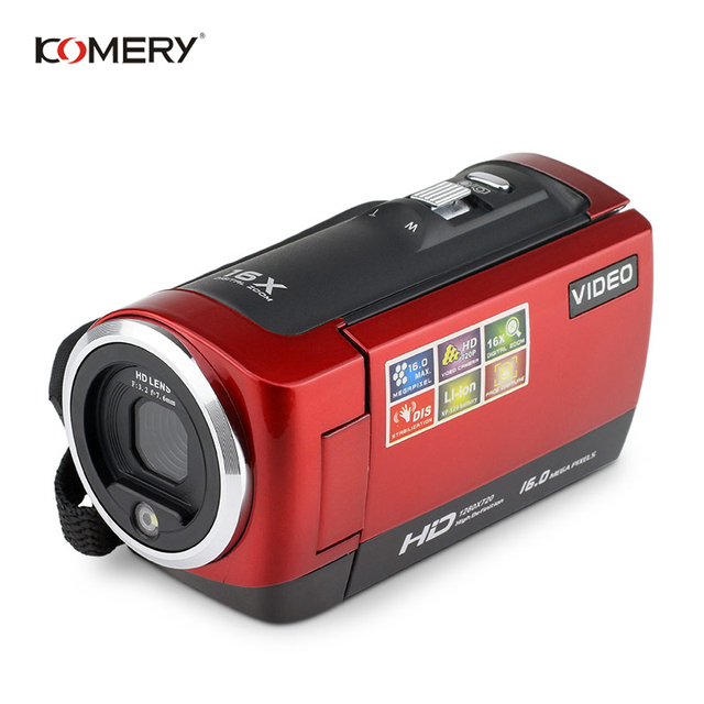 KOMERY HD Video Camera 2.7 Inch LCD screen 16x Zoom Digital Anti-shake Mini Camcorder camara fotografica digital professional 2