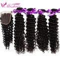 8A Malaysian Virgin Hair With Closure Malaysian Deep Wave Virgin Hair 3 Bundles With Closure Malaysian Curly Hair With Closure