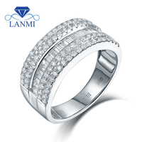 New Real 14K White Gold Round Baguette Diamond Wedding Ring Fine Jewelry for Wife Birthday Gift Charming Loving Rings