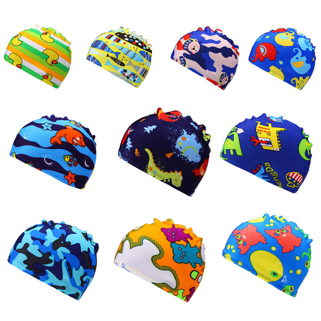 Children's Swimming Cap Printed Cartoon Swimming Cap Swim Waterproof Swimwear Kids Girl Sports Hat A1