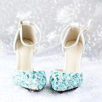 Мода весна и лето острый носок и Высокий каблук с Ремешок на щиколотке Sapatos синий со стразами на высоком каблуке женская свадебная обувь