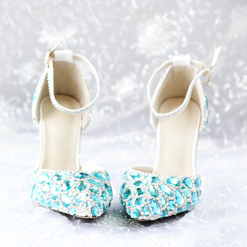Fashion Spring and Summer Pointed Toe High Heels with Ankle Strap Sapatos Blue Rhinestone High heel
