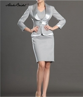 Formal Women's Dress Short Tank Gray Mother of the Bride Dress with Jacket