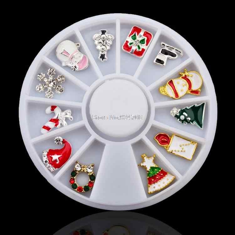 MANZILIN SP0001-01 החדש 3d סגסוגת חג המולד לעיצוב גלגל גליטר ריינסטון מניקור אספקת מסמר כלים