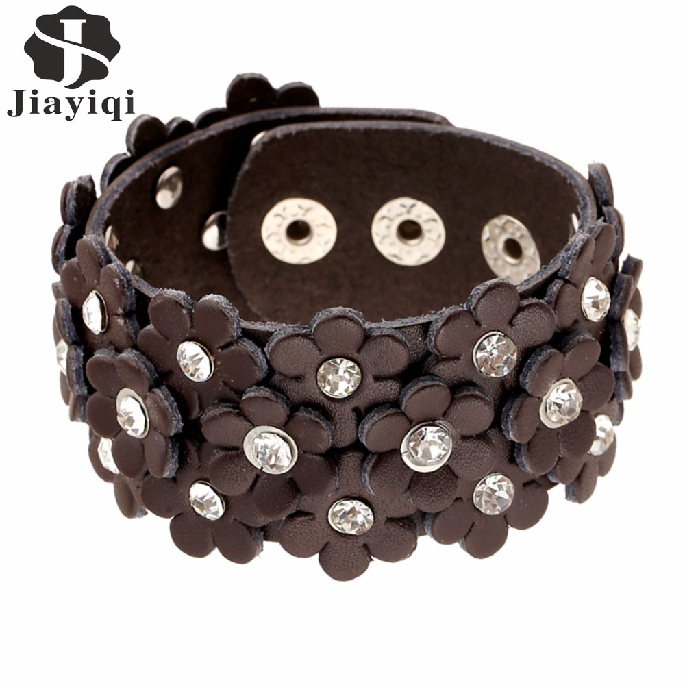 Jiayiqi 2017 Wide Real Leather Bracelets Rhinestone Flower Bracelet & Bangles Crystal Vintage Friendship for Women/Men new big size 40 40cm blocks diy baseplate 50 50 dots diy small bricks building blocks base plate green grey blue