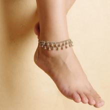 New Women's Simple Beach Dance Yoga Anklets Double Drop Tassels anklets Fashion Body Jewelry Accessories Wholesale