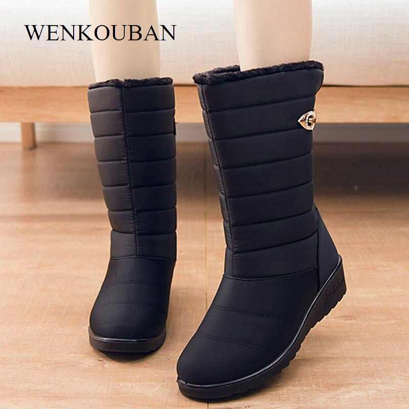 a365609f0f7e0 Women Winter High Boots Platform Shoes Female Fringe Flock Wedges Knee High  Booties Plush Thermal Padded