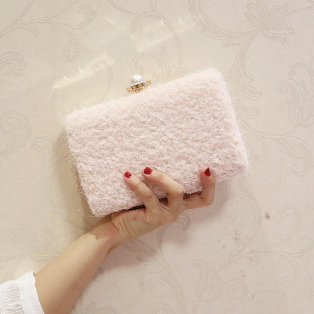 Lace Wool Decoration Clutch Bag
