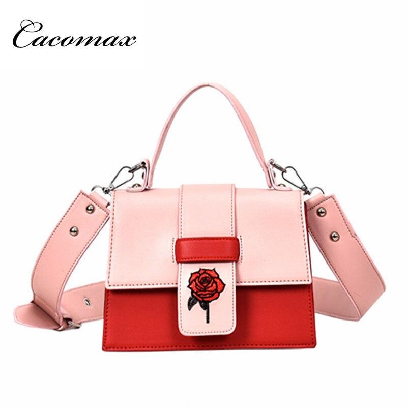 2018 female bag tide Korean version atmosphere wide shoulder strap shoulder small bag Messenger bag hit color women handbags