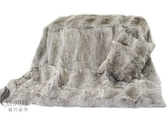 CX-D-08 150X200CM Natural Grey Colour Custom Made Rabbit Fur Blanket Bedding Patchwork Real Rabbit Fur Blanket