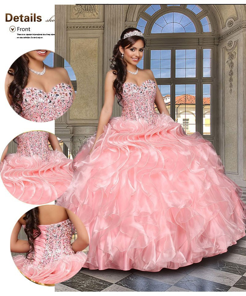 2891d1e6ac US $179.0 |Vestidos De 15 Anos Luxury Pink Crystal Beaded Quinceanera Dress  Ruffles Ball Gown Debutante Gowns Dress For 15 Years-in Quinceanera ...