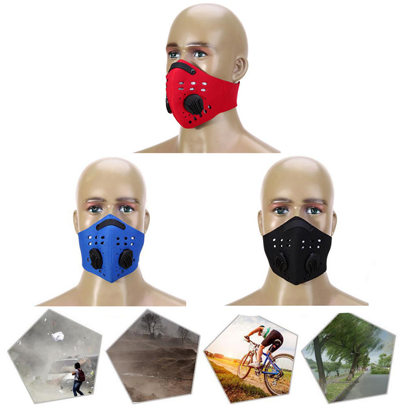 New Men Cycling half Face Mask Riding Mountain Bike Activated Carbon Dust Mask Bicycle Outdoor Sport Mask #3N19#f (5)