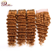 Pinshair 27 Honey Blonde Bundles With Closure Deep Wave Brazilian Hair 100 Human Hair 3 Bundles With Lace Closure Blonde Nonremy(China)