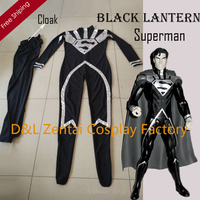 Free Shipping DHL Adult Lycra Spandex Black Lantern Superman Costume With Cape Halloween Party Costume SH0126