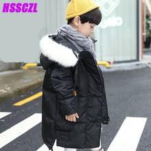 HSSCZL детская пуховик зимой утолщаются пальто девушки парни одежда длинный отрезок вниз меховой воротник капюшоном верхняя одежда пальто