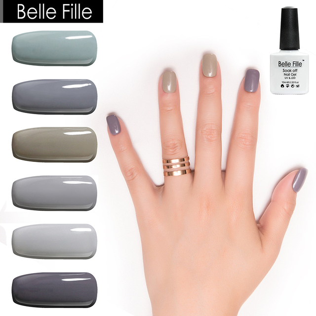Belle Fille Dark Grey Gel Nail Polish 10ml Uv Soak Off Led For