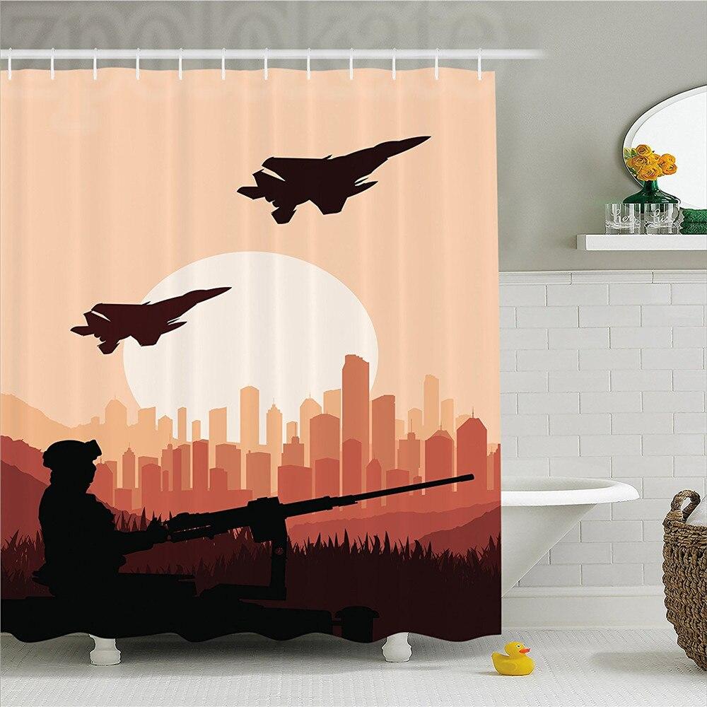 War Home Decor Shower Curtain Soldier Shadow with Weapon Warplanes and Skyscraper Epic Landscape at Sunrise Bathroom Decor Set w