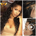 Full Lace Wigs Human Hair With Baby Hair 7A Lace Frontal Wig 130% Density Brazilian Curly Deep Wave Lace Front Human Hair Wigs