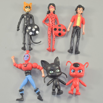 6pcs Miraculous Ladybug Comic Cat Lady Bug Doll Toy PVC Action Figure Anime Adrien Marinette Plagg Tikki Toys for children 2A022 lady bug dolls