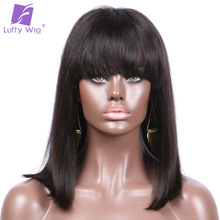 Luffy Non Remy Straight Indian Human Hair Lace Front Wig with Bangs Bob Style Natural Color 8-16'' 130denisty for Black women