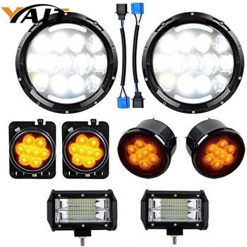 "105W 7Inch LED Headlights + 5"" 72w Led light bar + Front Fender & Grille Turn Signal Lamps for 2007-2017 Jeep Wrangler JK JKU"