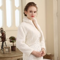 Free Shipping Women Winter Long Sleeve Cheap Ivory Bridal Jackets Warm Fur Boleros Wedding Shrug Stole