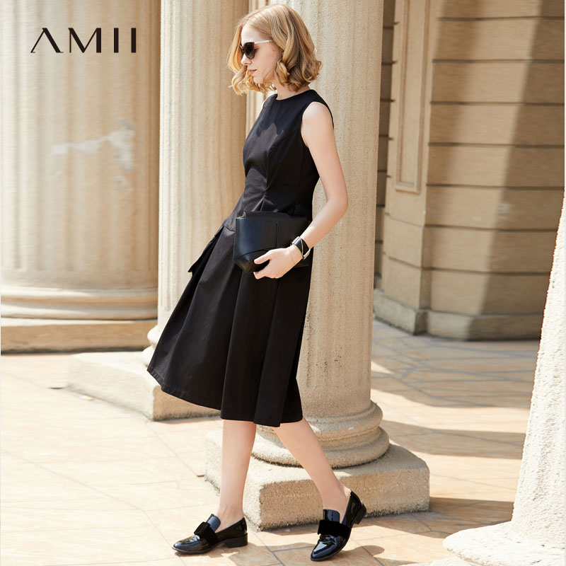 Amii Women Minimalist Summer Dress 2018 Solid A Line O Neck Sleeveless Pocket Female Dresses
