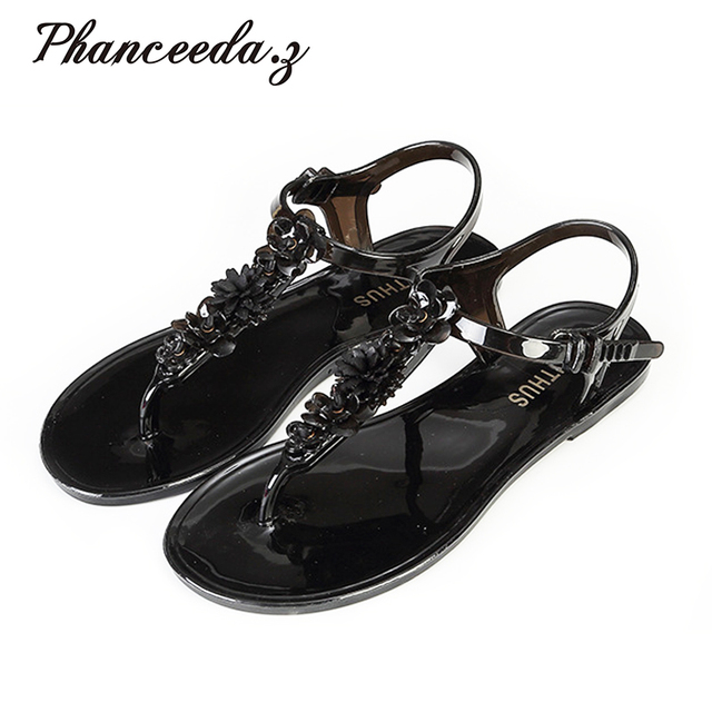 New 2017 Shoes Woman Sandals Lovely Jelly Shoes Flat Zapatos Mujer Sandals Summer Style Sandalias Free Shipping