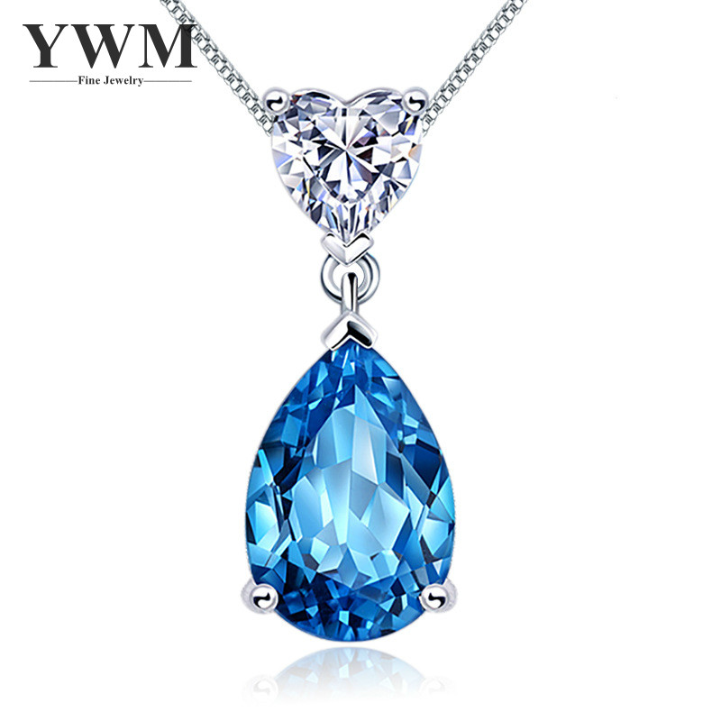 YWM JEWELS Silver 925 Blue Crystal Water-drop Necklace Pendant Necklace with Chain Zircon Zodiac Fashion Jewelry for Women