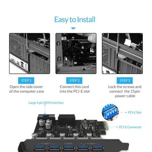 Image 4 - ORICO USB 3.0 PCI E Expansion Card 5 Ports Hub Adapter External Controller Express Card with 4 pin Power Connector Cord