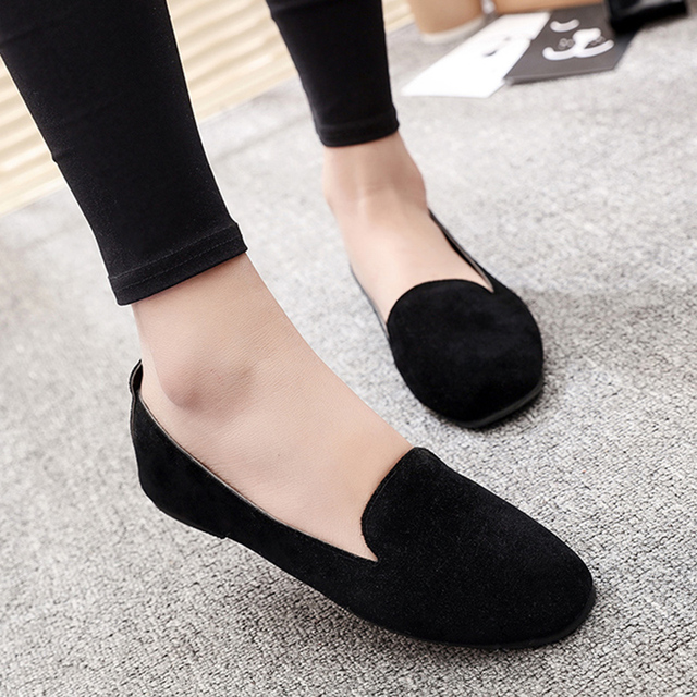 acdf0aa4ee1 Spring Autumn Women Slip on Shoes Faux Suede Boat Shoes Woman Flats Casual Shoes  Black Loafers Ladies Shoes Zapatos Mujer 6630