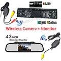 3 В 1 4.3 Дюймов TFT LCD Монитор Зеркала Rearview Автомобиля с Ночного Видения Беспроводной Заднего Вида Резервного Копирования Обратная Камера Номерного знака