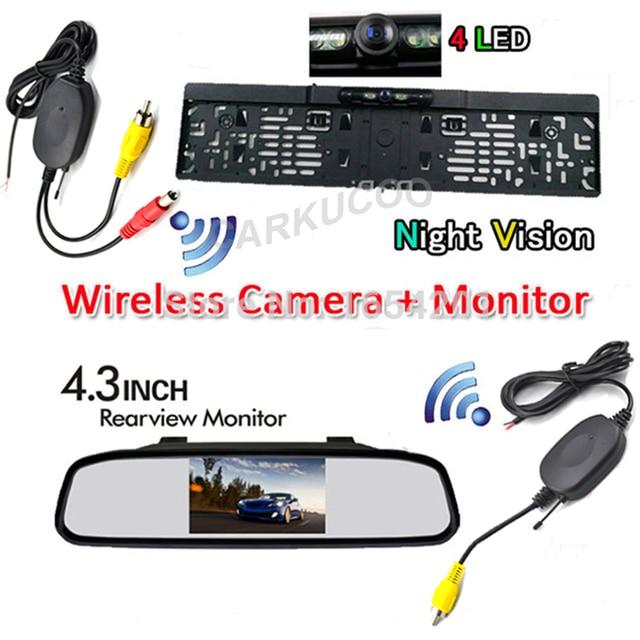 3 En 1 de 4.3 Pulgadas TFT LCD de Coches Retrovisor Monitor Del Espejo con La Visión Nocturna Inalámbrica de Visión Trasera Reversa de Reserva de la Matrícula de La Cámara