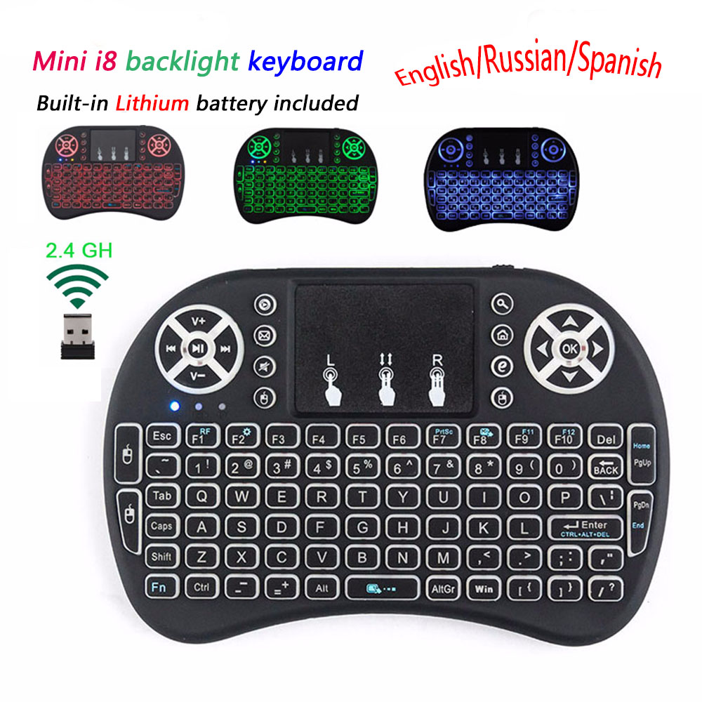 Calvas i8 keyboard 2.4GHz Wireless Keyboard with Touchpad Air Mouse Remote Control For Android TV BOX T9 X96 Max AAA Battery Color: Russian Keyboard AAA