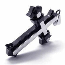 Joyería de moda Cruz de Plata Fija en Negro Cruz Colgante de Acero Inoxidable 316L Collar Collares 17242