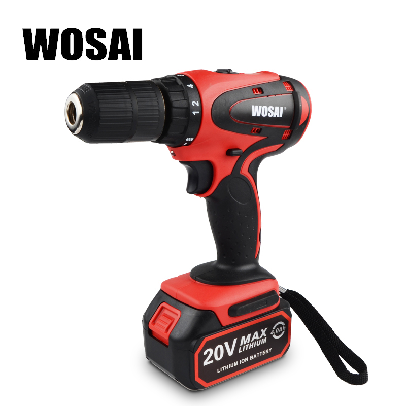 WOSAI 20V Cordless Electric Hand Drill Lithium Battery Electric Drill Cordless 2-Speed Drill Electric Screwdriver Power Tools wosai 12v lithium battery electric drill bit two speed electric cordless drill mini screwdriver hand drill electric power tools