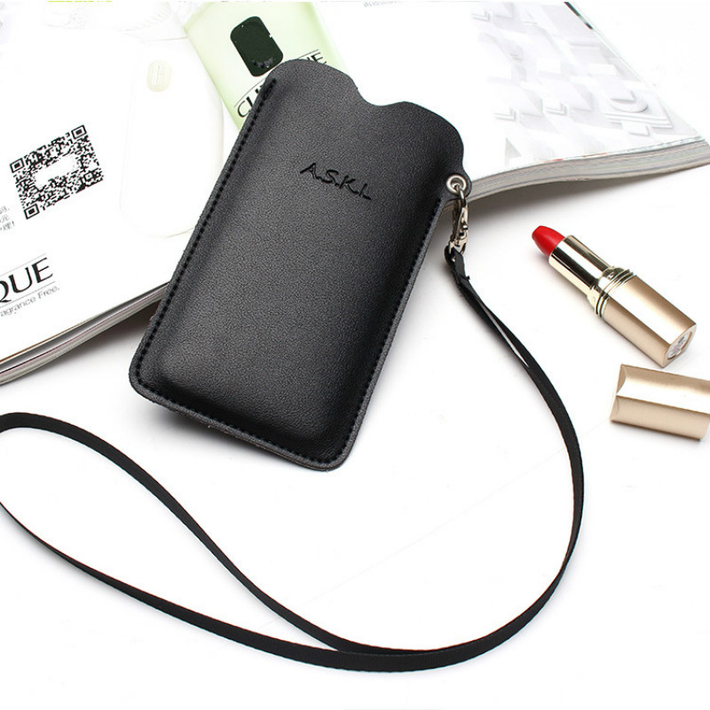 PU Leather Women Shoulder Bag Mini Mobile Phone Purses Messenger Totes New Cards Holder Hanging Neck Lanyard Wallet Solid Brown