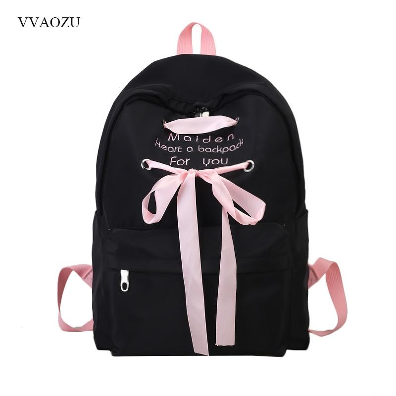 Women Backpack For School Lolita Style Nylon Shoulder School Bag For College Ribbon Design Girls Casual Daypacks Mochila Female