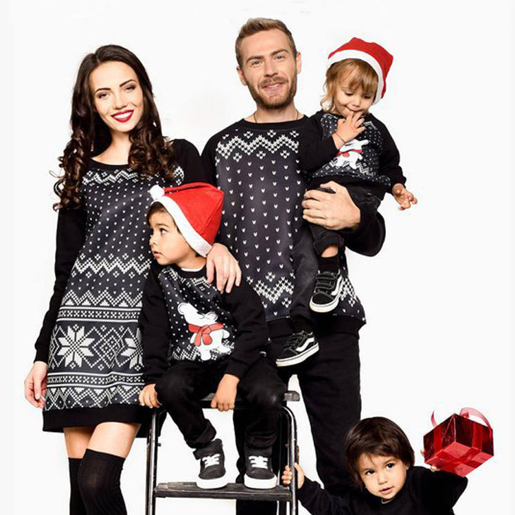 Christmas Family Look Mommy and Me Clothes Long Sleeve TopsMother Dress Daughter Dad Kids Sweatshirt Family Matching Outfits kitty family cropped long sleeve sweatshirt