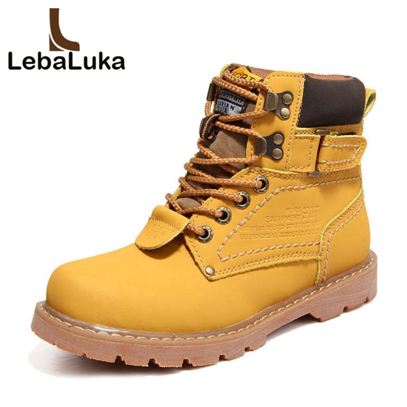 LebaLuka Winter Men Real Leather Ankle Boots High Quality Handmade Oxford Boots Fur Warm Work Shoes Male Footwear Size 40-43