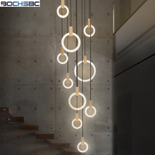 BOCHSBC Creative Acrylic Ring Pendant Light Fixtures For Living Room Dining Room Indoor Stairs Lighting 5/7/10 Heads Wooden Lamp