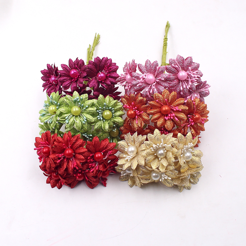 6pcs glitter pearl daisy artificial mini flowers for for Artificial leaves for decoration