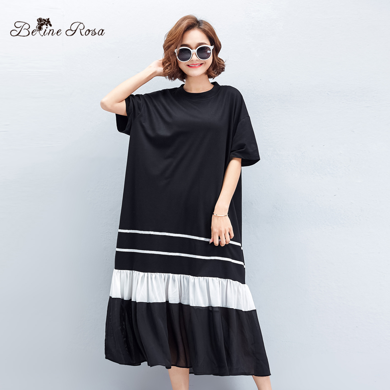BelineRosa 2019 Casual Black Dresses Female Summer Style Short Sleeve Draped Ruffled Hem Fashion Designer Dress TYW00777 in Dresses from Women 39 s Clothing