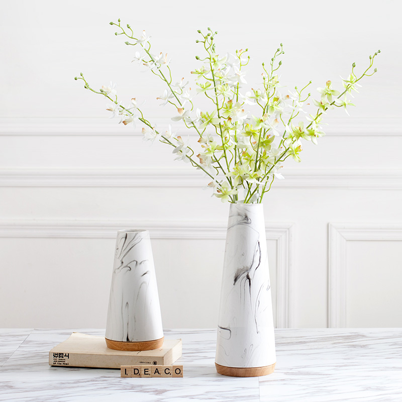 Creative Ceramic Marble Texture Vase Office Desktop Plant Artificial Flower Holder Fashioned Flower Vases Decoration Adornment