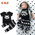 Baby Boy Girl Clothing Sets 2016 Children Clothing Sets 1-3Yrs Kids Suits Fashion Black T shirts + Cross Haroun Pants 2pcs/lot