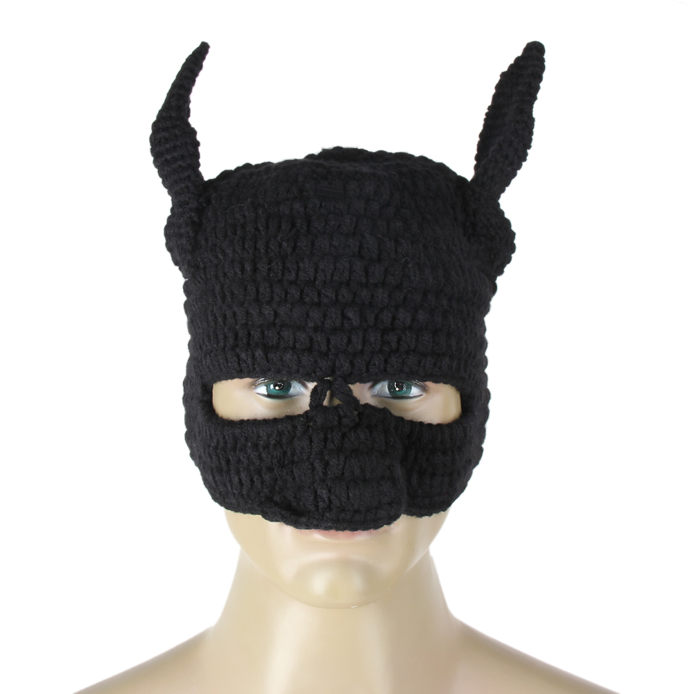 Winter Beanie Crochet Cool Cosplay Mask Knitted Hats Helmet EarFlap black solid Cap